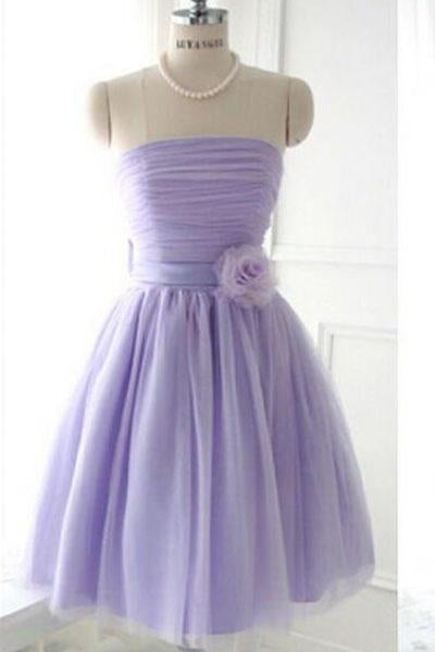 Cute Strapless Flower Lavender Chiffon Short Bridesmaid Dresses with Bow Prom Dresses