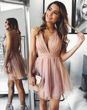 Cute V Neck Above Knee Pink Ruffles Tulle Short Prom Dresses Homecoming Dresses