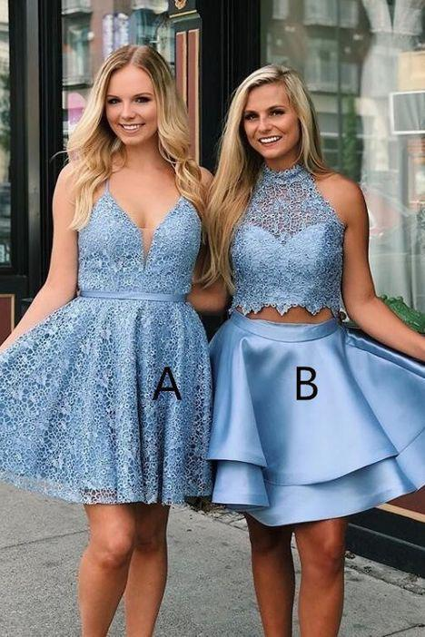 Cute V Neck Blue Short Prom Dresses Above Knee Homecoming Dress Cocktail Dresses