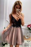 Cute V Neck Short Black Lace Spaghetti Straps Prom Dresses Backless Homecoming Dress