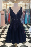 Dark Navy Lace Homecoming Dresses V Neck Appliqued Cheap Short Prom Dresses