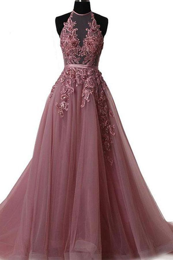 A Line Halter Lace Appliqued See-through Long Beads Lace up Tulle Backless Prom Dresses