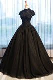 Black Tulle Cap Sleeve Long High Neck Beads Ball Gown Open Back Prom Dresses