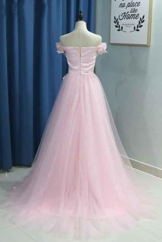 Elegant A line Pink Tulle Prom Dresses with Flowers Off the Shoulder Belt Evening Dress
