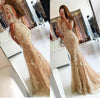 Elegant Half Sleeve Lace Mermaid Backless Prom Dresses Long Cheap Evening Dresses