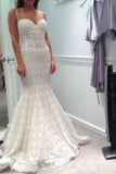 Elegant Mermaid Sweetheart Lace Court Train Wedding Dress with Spaghetti Straps