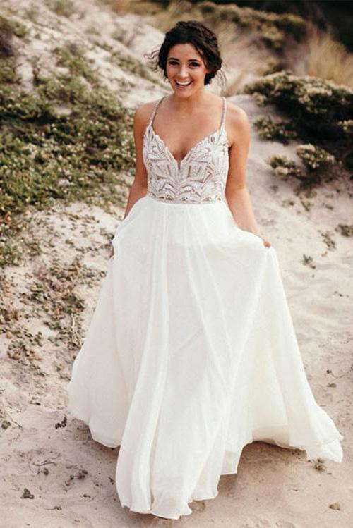 Elegant Spaghetti Straps V Neck Chiffon Backless Beach Wedding Dresses Bridal Gowns
