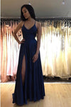 Elegant Spaghetti Straps V Neck Royal Blue Side Slit Prom Dresses Long Evening Dresses