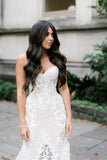 Elegant Sweetheart Strapless Wedding Dress With Appliques Mermaid Bridal Dresses