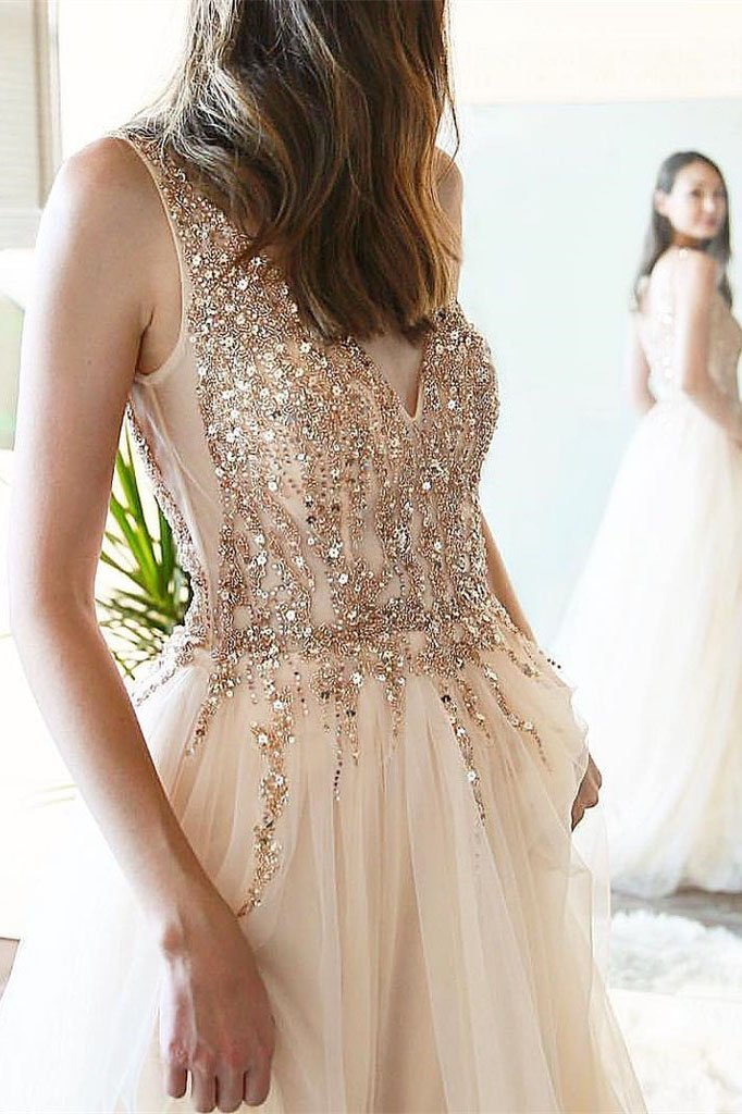 Elegant Tulle V Neck Beaded Rhinestones A-line Prom Gowns Slit Long Prom Dresses