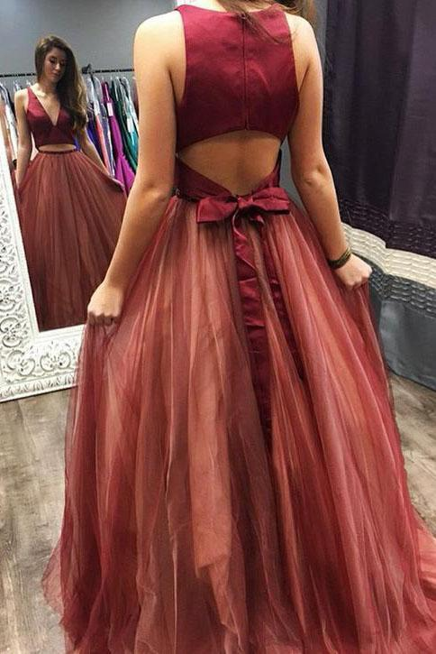 Elegant Two Pieces Burgundy V Neck Tulle Prom Dresses Tulle Open Back Evening Dresses