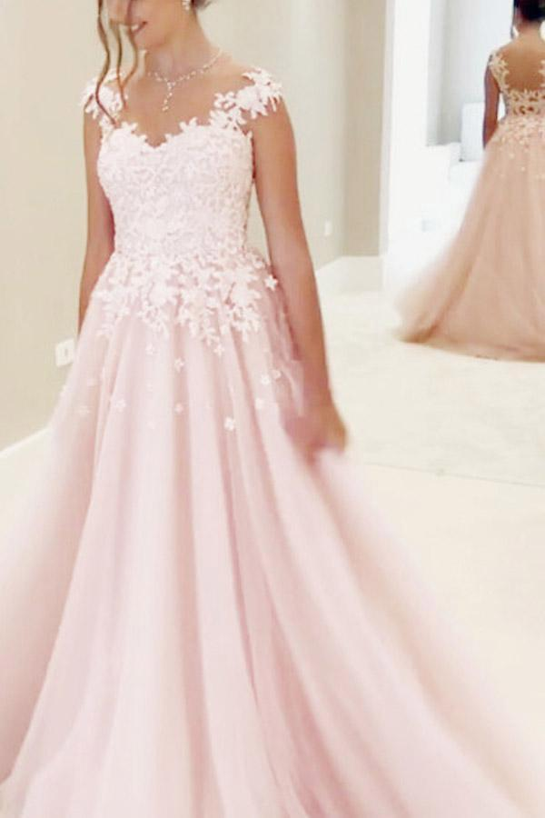 Gorgeous A-line Pink Chiffon Long Sweetheart Floor-Length Sleeveless Prom Dresses