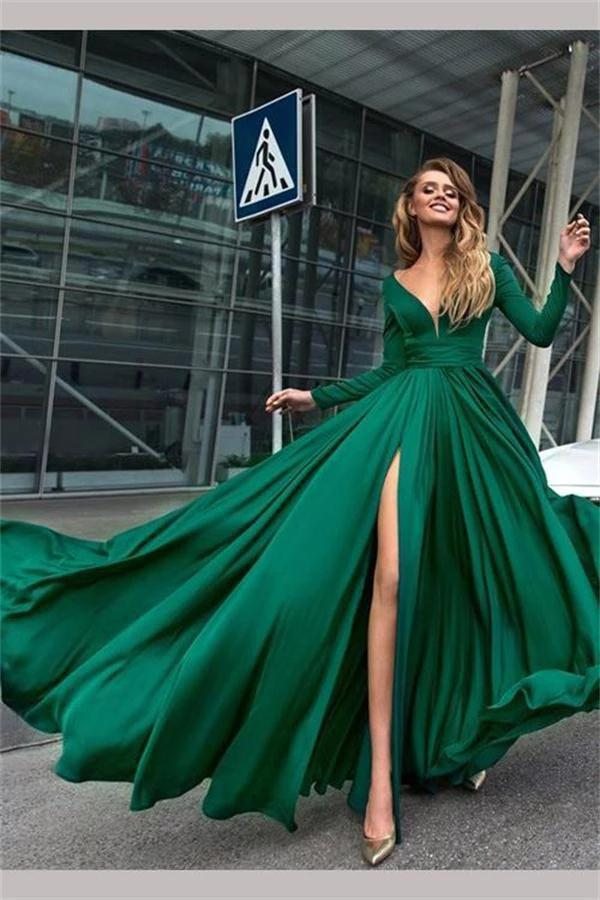 Flowy Long Sleeve V Neck Chiffon Long Formal Dresses with High Slit Backless Prom Dress