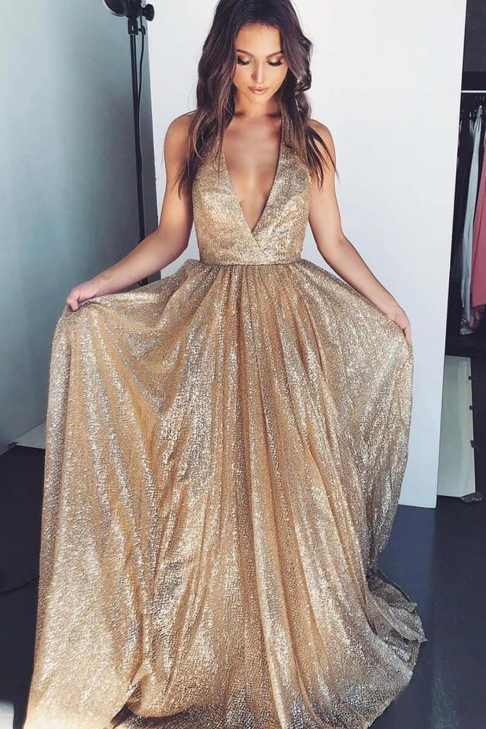 Gold Deep V-neck Prom Dresses Tulle Formal Dresses Long Cheap Evening Dresses