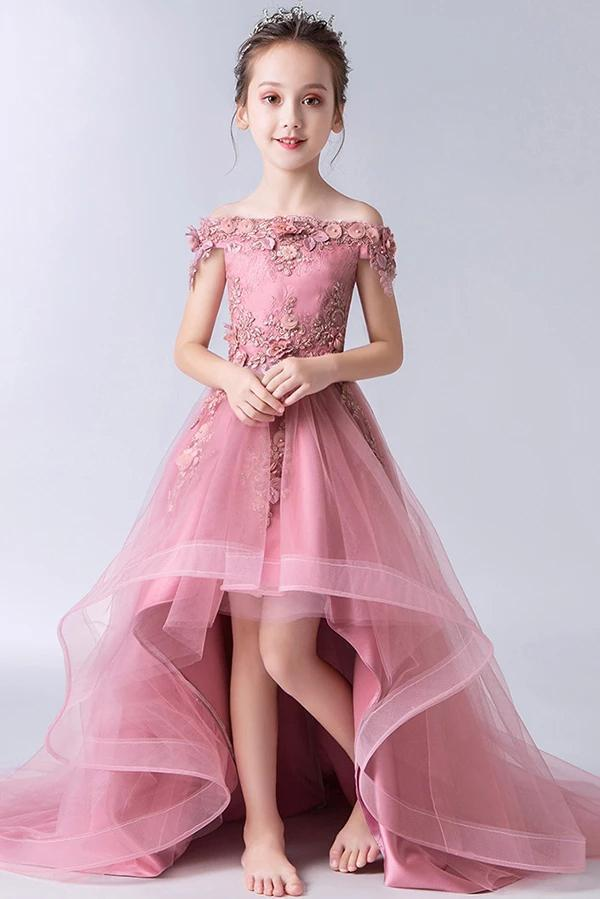 Gorgeous Pink Off the Shoulder With Lace Appliques High Low Tulle Flower Girl Dresses