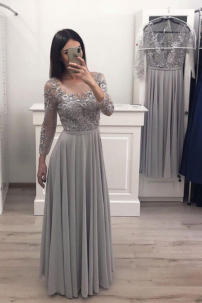 Gray Long Sleeve Chiffon Long Prom Dresses Lace Appliques Bridesmaid Dresses