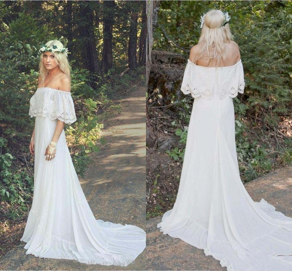 A Line Off the Shoulder Bohemian Lace Chiffon Ivory Summer Beach Wedding Dresses