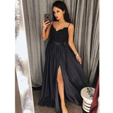 Dark Green Spaghetti Straps Split Front Lace Long Sleeveless Prom Dresses