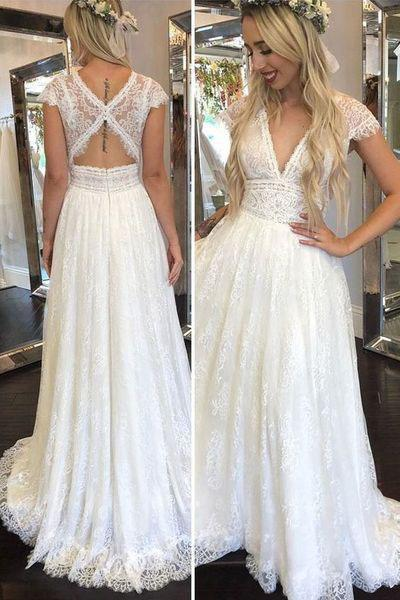 Simple Deep V Neck Lace Appliques Open Back Ivory Wedding Dresses Bridal Gowns On Sale Shmilyprom