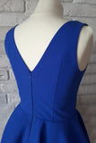 Cute Royal Blue Satin A Line V-Neck Short Homecoming Dress with Ruched Graduation Dress