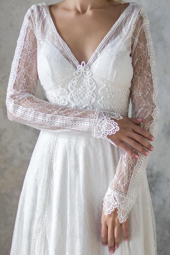 Elegant A Line V Neck Long Sleeve Ivory Lace Backless Beach Boho Wedding Dresses