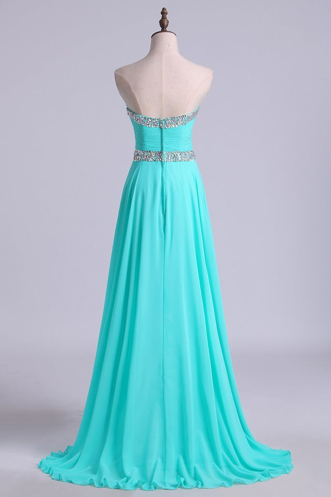 Prom Dresses A Line Floor Length Sweetheart Chiffon With Rhinestone