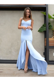 Mermaid Backless Prom Dresses Simple Bridesmaid Dress Satin Floor STCP481AX65