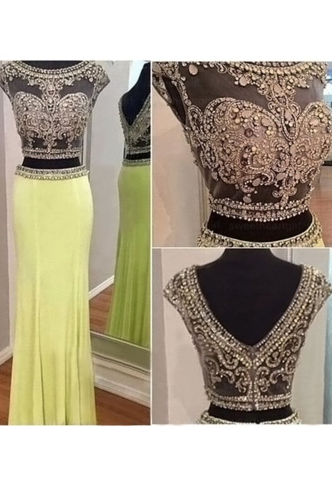 2021 Two-Piece Scoop Column Prom Dresses Beaded Bodice