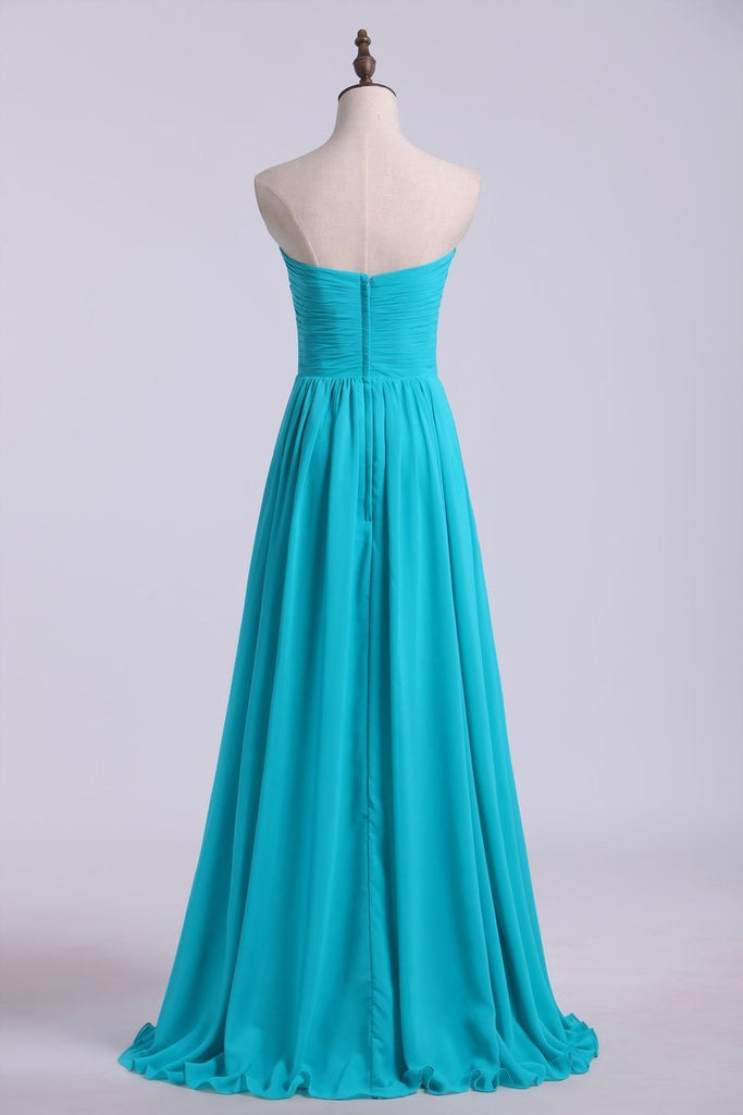 Sweetheart Neckline With Beads Pleated Bodice Floor Length Flowing Chiffon