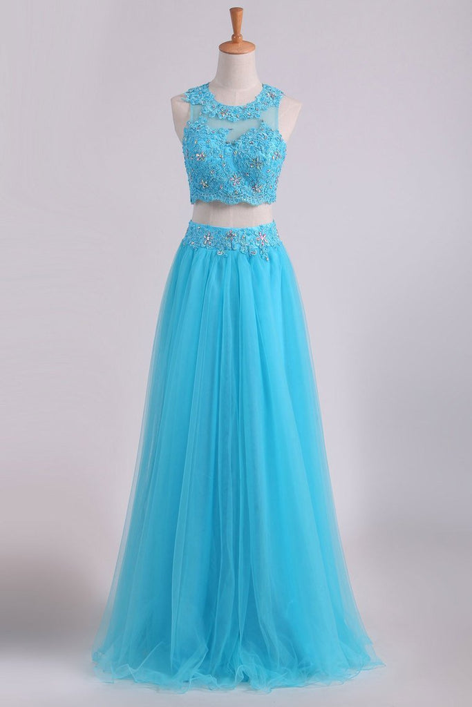 Two Pieces Scoop Prom Dresses A Line With Applique & Beading