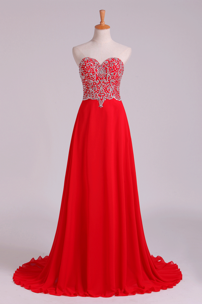 2019 Prom Dress Sweetheart A Line Floor Length With Beads Chiffon&Tulle