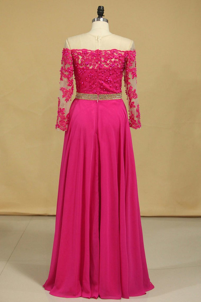 2019 Scoop Prom Dresses A Line Chiffon With Applique And Beads Sweep