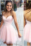 Sexy Short Cute Pink Spaghetti Straps Tulle Mini Junior Backless V-Neck Homecoming Dress