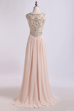 2019 Prom Dress Scoop A Line Beaded Tulle Bodice With Chiffon Skirt