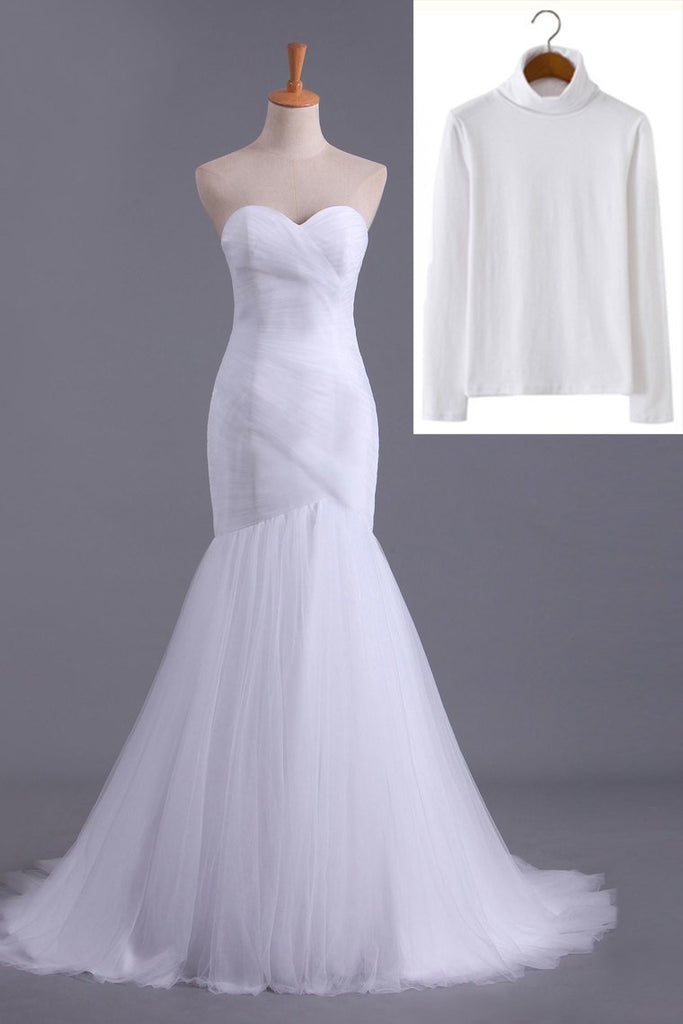 High Neck Mermaid/Trumpet Muslim Wedding Dresses Pleated Bodice With Tulle Skirt Lace Up