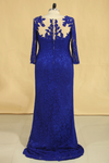 2019 Plus Size Mother Of The Bride Dresses Scoop 3/4 Length Sleeve Lace With Applique Dark Royal Blue