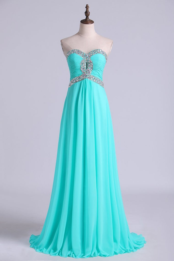 2019 Prom Dresses A Line Floor Length Sweetheart Chiffon With Rhinestone