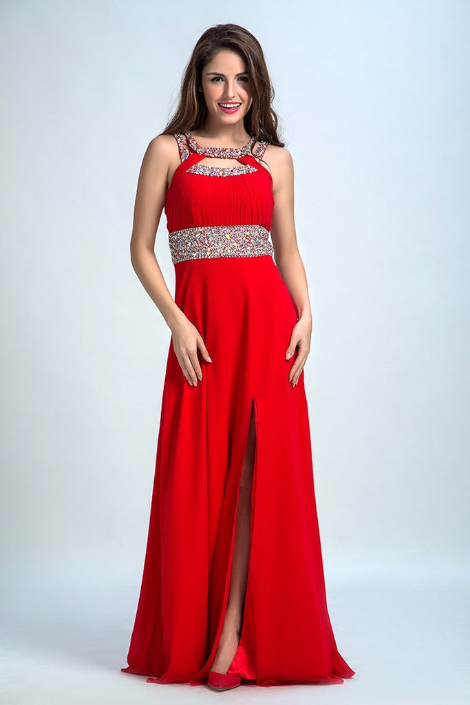 2019 Sexy Prom Dresses A Line Scoop Sweep/Brush Red Open