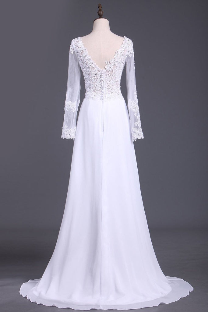 2019 See-Through Prom Dresses V Neck Long Sleeves Chiffon With Applique And