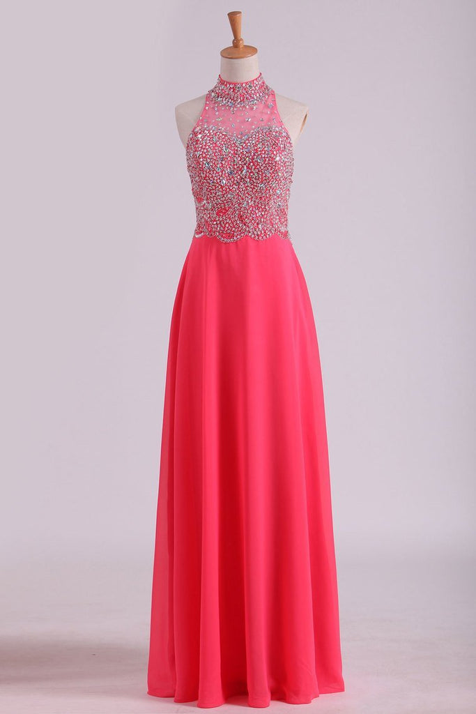 High Neck Prom Dresses A Line Chiffon With Beading Sweep Train