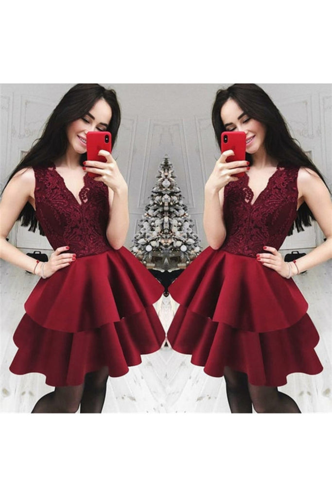 Lace&Satin Short Homecoming Dress V Neck Zipper STCP54P677Y