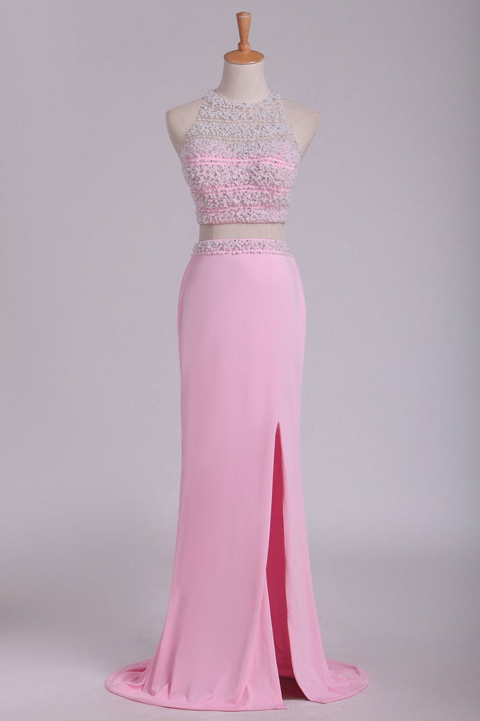 2019 Two Pieces Column Scoop Prom Dresses With Beads And Pearls Spandex &