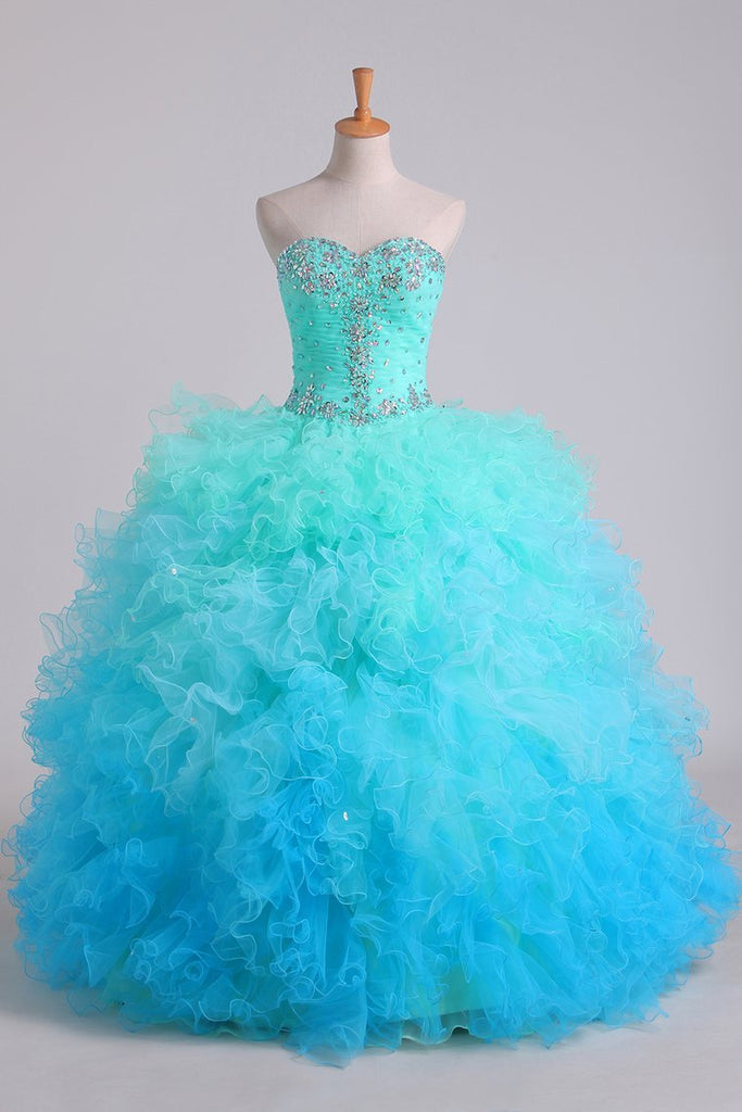2019 Quinceanera Dresses Ball Gown Floor Length With Beads And
