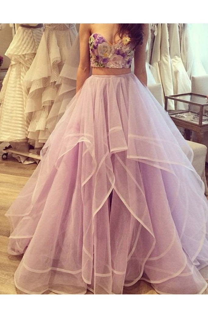 2019 Two Pieces Sweetheart Prom Dresses Tulle With