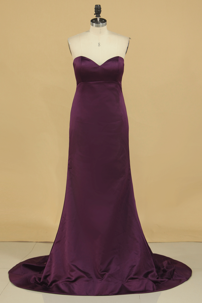 Satin Mermaid Sweetheart Evening Dresses Sweep