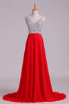 2019 Prom Dress V-Neck A-Line Beaded Tulle Bodice Sweep Train Chiffon