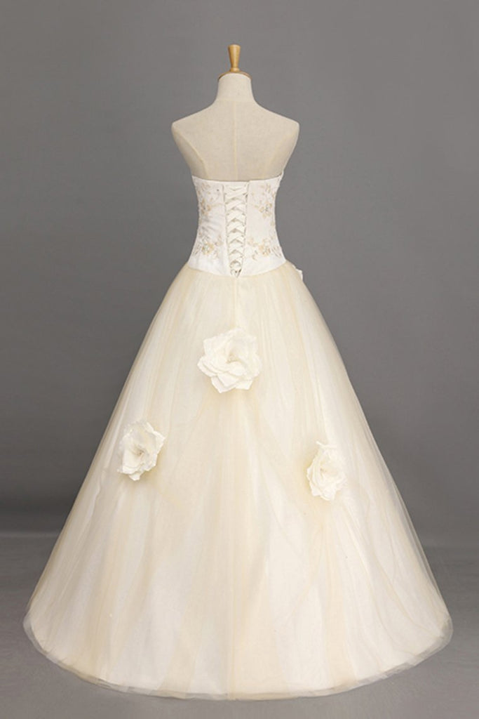 Ball Gown Quinceanera Dresses Sweetheart Floor Length With Handmade Flower And