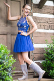 2019 Halter Homecoming Dresses Two-Piece Tulle Short/Mini