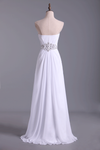 2019 Sweetheart Chiffon Floor Length A Line Prom Dress Beaded