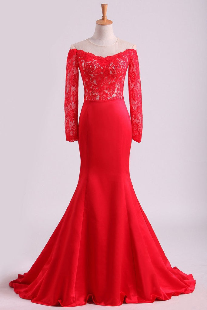 2019 Red Prom Dresses Mermaid/Trumpet Spandex With Applique Sweep Train